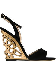 Paul Andrew 'Kismet' Wedge Sandals Black