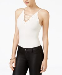 Material Girl Juniors' Lace Up Thong Bodysuit Only At Macy's White