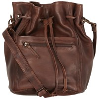 Fat Face Leather Slouchy Duffle Bag Brown