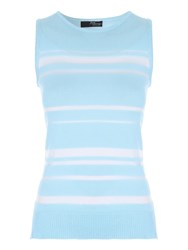 Jane Norman Mesh Stripe Top Light Blue