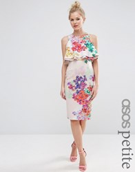 Asos Petite Double Ruffle Floral Crop Top Midi Pencil Dress Multi