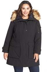 Plus Size Women's 1 Madison 'Expedition' Faux Fur Trim Parka Black