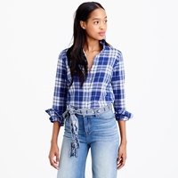 J.Crew Perfect Shirt In Blue Crinkle Plaid