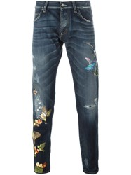 Dolce And Gabbana Embroidered Bird Jeans Blue