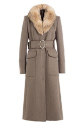 Tara Jarmon Virgin Wool Coat With Fur Collar Grey
