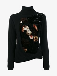 Preen Facade Floral Print Cashmere Blend Sweater Black Multi Coloured