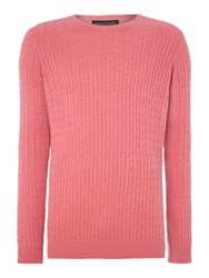 Chester Barrie Cotton Cashmere Cable Knit Jumper Pink