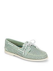 Sperry A O 2 Eye Perforated Leather Boat Shoes Green