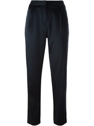 T By Alexander Wang Cropped Satin Trousers Blue
