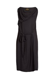 Vivienne Westwood Twisted Cowl Neck Crepe Dress Navy