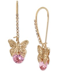 Betsey Johnson Gold Tone Filigree Butterfly And Pink Stone Drop Earrings