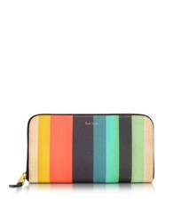 Paul Smith Men's Multicolor Striped Leather Zip Refresh Wallet