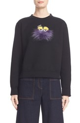 Fendi Women's Monster Sweatshirt With Genuine Mink And Fox Fur Trim
