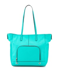 Milly Astor Pebbled Leather Tote Bag Turquoise