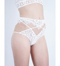 For Love And Lemons Skivvies Christy High Waisted Floral Lace Tulle Briefs White