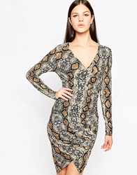 Club L Essentials Asymetric Wrap Dress With Ruching Snakeskin