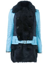 Sacai Fur Trim Leather Coat Blue