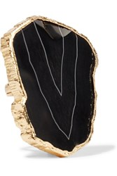 Balmain Gold Plated Stone Ring Black