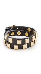 Rebecca Minkoff Double Row Leather Bracelet With Pyramid Studs Black Gold