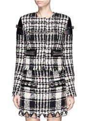 Alexander Wang Check Plaid Leather Trim Tweed Jacket Multi Colour