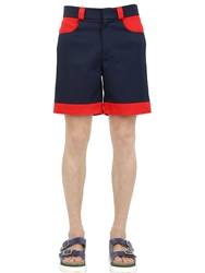 Au Jour Le Jour Two Tone Cotton Drill Shorts Navy