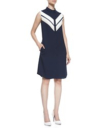 O'2nd Sleeveless Front Stripe Shirtdress Navy