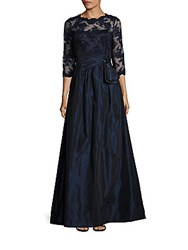 Teri Jon Sequined Floral Lace Gown Navy