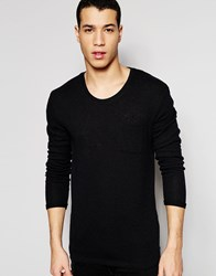 Selected Homme Scoop Neck Boucle Knitted Jumper Black