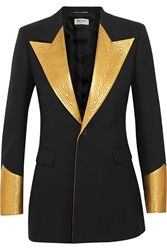 Saint Laurent Metallic Leather Paneled Wool Tuxedo Blazer