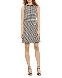Ralph Lauren Houndstooth Print Dress Black Ivory