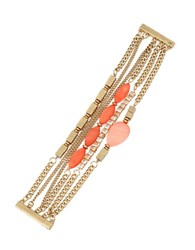 Kenneth Cole Coral Canyon Mixed Shell And Bead Multi Row Bracelet Red