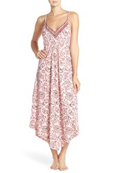 Lucky Brand Women's 'Easy Breezy' Jersey Maxi Chemise Ivy Woodblock Chili