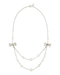 Majorica Layered Bow And Pearl Necklace