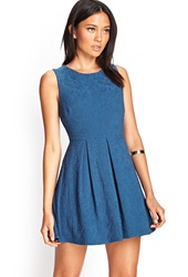 Forever 21 Embroidered Floral Cutout Dress Teal