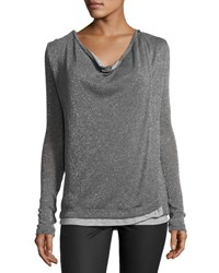 Three Dots Cheyanne Crossover Knit Top Charcoal