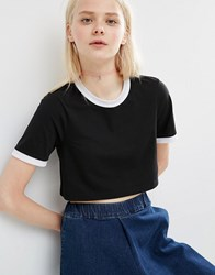Asos Crop T Shirt With Tipping Black White Tipping