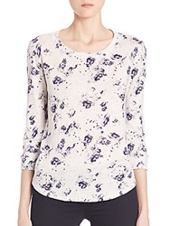 Rebecca Taylor Meteor Floral Linen Tee White Navy