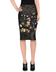 1 One Knee Length Skirts Dark Green