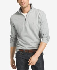 Izod Men's Textured Quarter Zip Sweater Cinder Block