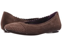 Vaneli Bunnie Dark Taupe Suede Ant Gold Nails Women's Flat Shoes Brown