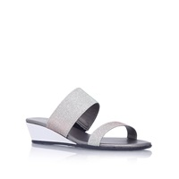 Carvela Kake Low Wedge Heel Sandals Silver