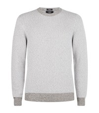 Boss Textured Cotton Chunky Sweater Male Grey