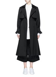 Chictopia Pintuck Cuff Belted Wool Twill Trench Coat Black