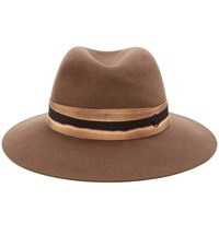 Maison Michel Henrietta Rabbit Felt Fedora Brown