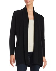 Lord And Taylor Petite Open Front Cashmere Sweater Black