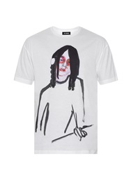 Raf Simons Face Print Cotton Jersey T Shirt