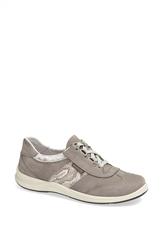 Mephisto Perforated Walking Shoe Women Light Grey Nubuck Light Sand