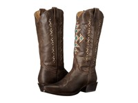 Roper Cross A Grande Snip Toe Brown Cowboy Boots