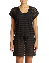 Calvin Klein Striped Mesh Tunic Cover Up Black