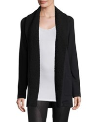 Splendid Loopine Faux Fur Trim Cardigan Black